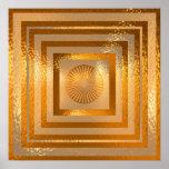 Mandala de oro de Sun - respetos calientes Posters