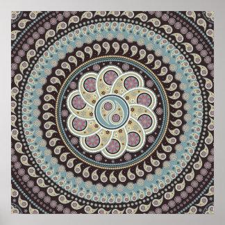 Mandala de Paisley Póster