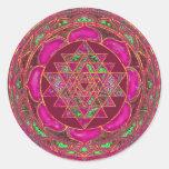 Mandala de Sri Lakshmi Yantra Etiqueta Redonda