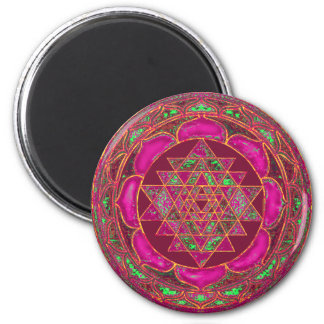 Mandala de Sri Lakshmi Yantra Imán Redondo 5 Cm