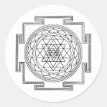 Mandala de Sri Yantra Etiquetas Redondas