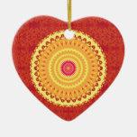 Mandala de Sun Adorno De Cerámica En Forma De Corazón