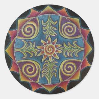 Mandala de Sun del verano Pegatina Redonda