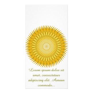 Mandala de Sun en amarillo Tarjetas Fotograficas Personalizadas