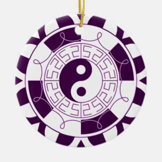 Mandala de Yin Yang Adorno Navideño Redondo De Cerámica