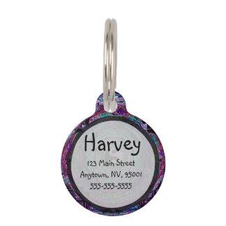 Mandala de Yin Yang en colores púrpuras Placas De Mascota
