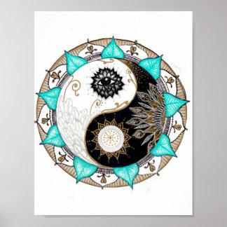 Mandala de Yin Yang Póster