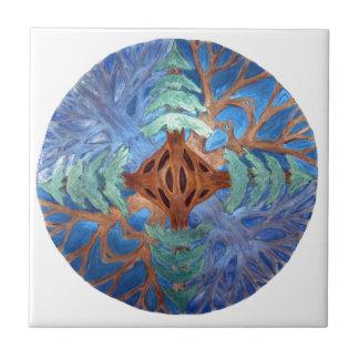 Mandala del abeto y del árbol de hoja caduca, lápi teja