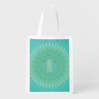 Mandala del animal del oro de la turquesa de la bolsas reutilizables