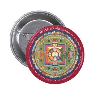 Mandala del BOTÓN de Chenrezig - con mantra Pin