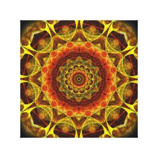 Mandala del botón del oro impresión en lona