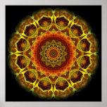 Mandala del botón del oro poster