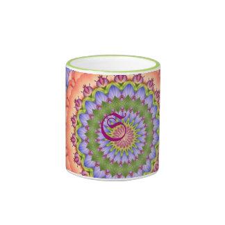 Mandala del caleidoscopio de la floración de taza a dos colores