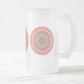 Mandala del caleidoscopio de la floración de taza cristal mate