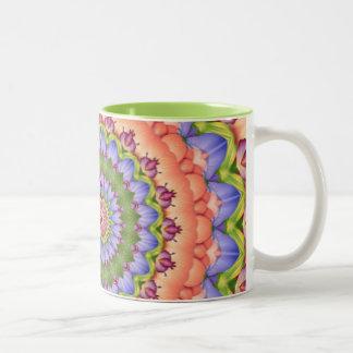 Mandala del caleidoscopio de la floración de taza dos tonos