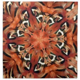 Mandala del caleidoscopio de la pluma del faisán d servilletas imprimidas