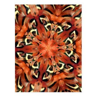 Mandala del caleidoscopio de la pluma del faisán postales