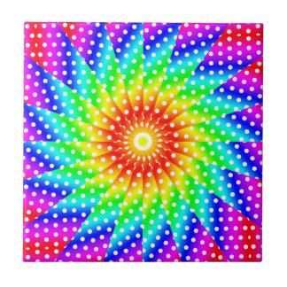 Mandala del caleidoscopio del lunar del arco iris azulejo cuadrado pequeño