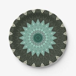 Mandala del caleidoscopio en verde y azul platos de papel