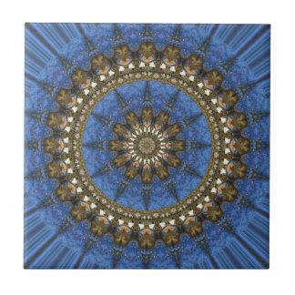Mandala del cangrejo azul azulejo cuadrado pequeño