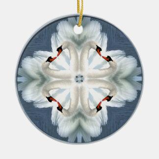 Mandala del cisne adorno redondo de cerámica