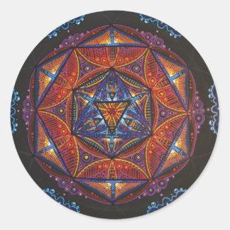 Mandala del compás etiqueta redonda