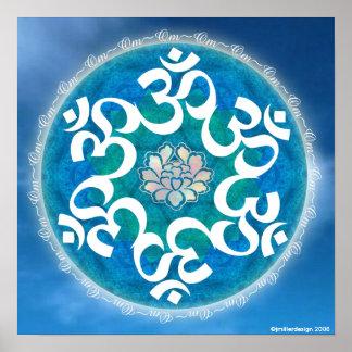 Mandala del copo de nieve del círculo de OM Póster