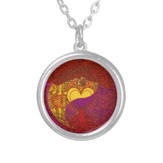 Mandala del corazón en rojo colgante redondo