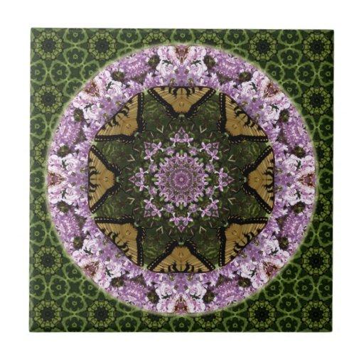 Mandala del diseño de la mariposa azulejo cuadrado pequeño