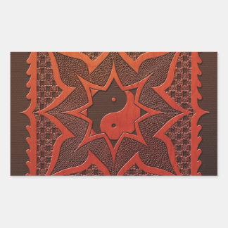 Mandala del grabar en madera de Yin Yang Rectangular Pegatinas