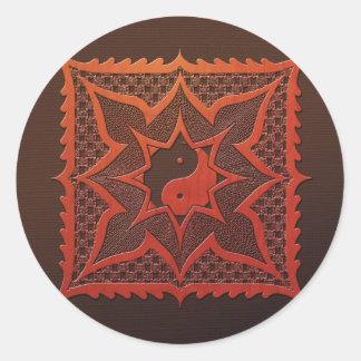 Mandala del grabar en madera de Yin Yang Pegatina Redonda