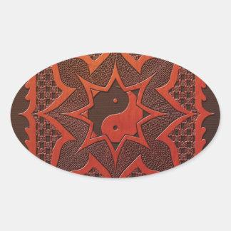 Mandala del grabar en madera de Yin Yang Calcomanías De Óvales Personalizadas