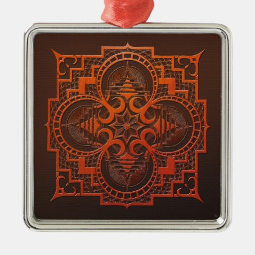 mandala del grabar en madera del omjarah adorno navideño cuadrado de metal