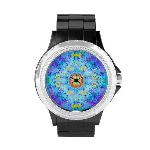 Mandala del hippy de la estrella azul modelada relojes de pulsera