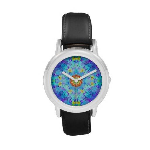 Mandala del hippy de la estrella azul modelada relojes de mano