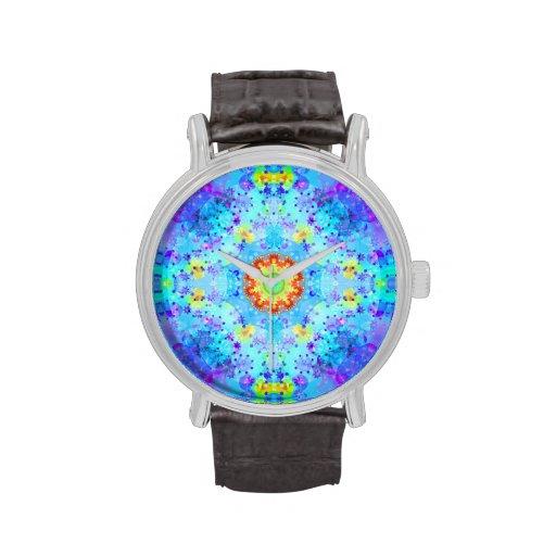 Mandala del hippy de la estrella azul modelada reloj