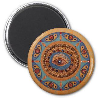 Mandala del mal de ojo: Arte original Imán Redondo 5 Cm