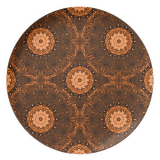 Mandala del naranja y de Brown Platos De Comidas