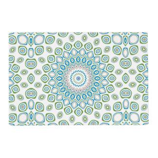 Mandala del océano en azul y gris y blanco tapete individual