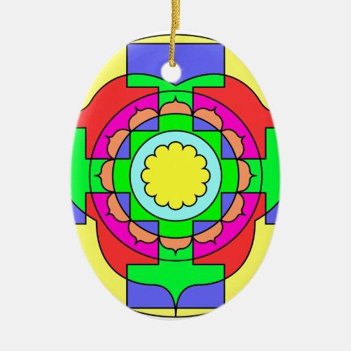 Mandala del optimismo adorno ovalado de cerámica