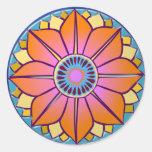 mandala del orange&pink etiqueta redonda