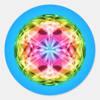 Mandala del orbe del arco iris pegatina redonda