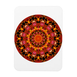 Mandala del oro que brilla, ámbar anaranjado rojo imán foto rectangular