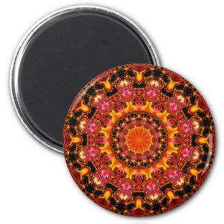 Mandala del oro que brilla, ámbar anaranjado rojo imán redondo 5 cm