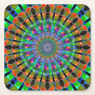 Mandala del pavo real posavaso cuadrado de cartón