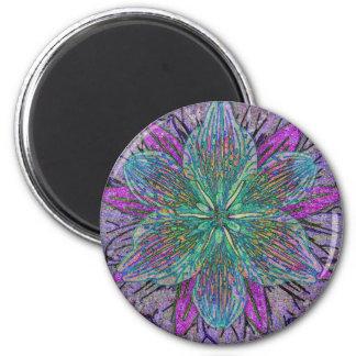 Mandala del pétalo de la flor imán redondo 5 cm