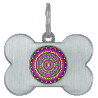 Mandala del pétalo placa de mascota