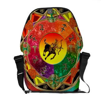 Mandala del sagitario de la muestra del zodiaco bolsas de mensajería