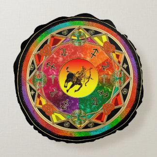 Mandala del sagitario de la muestra del zodiaco cojín redondo