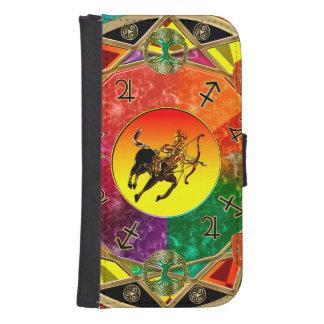 Mandala del sagitario de la muestra del zodiaco funda cartera para teléfono